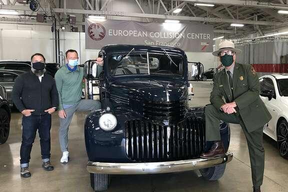 Dennis Kirkpatrick ludvik rutkowski and national psrk ranger john Cantrell with 1946 Chevy truck