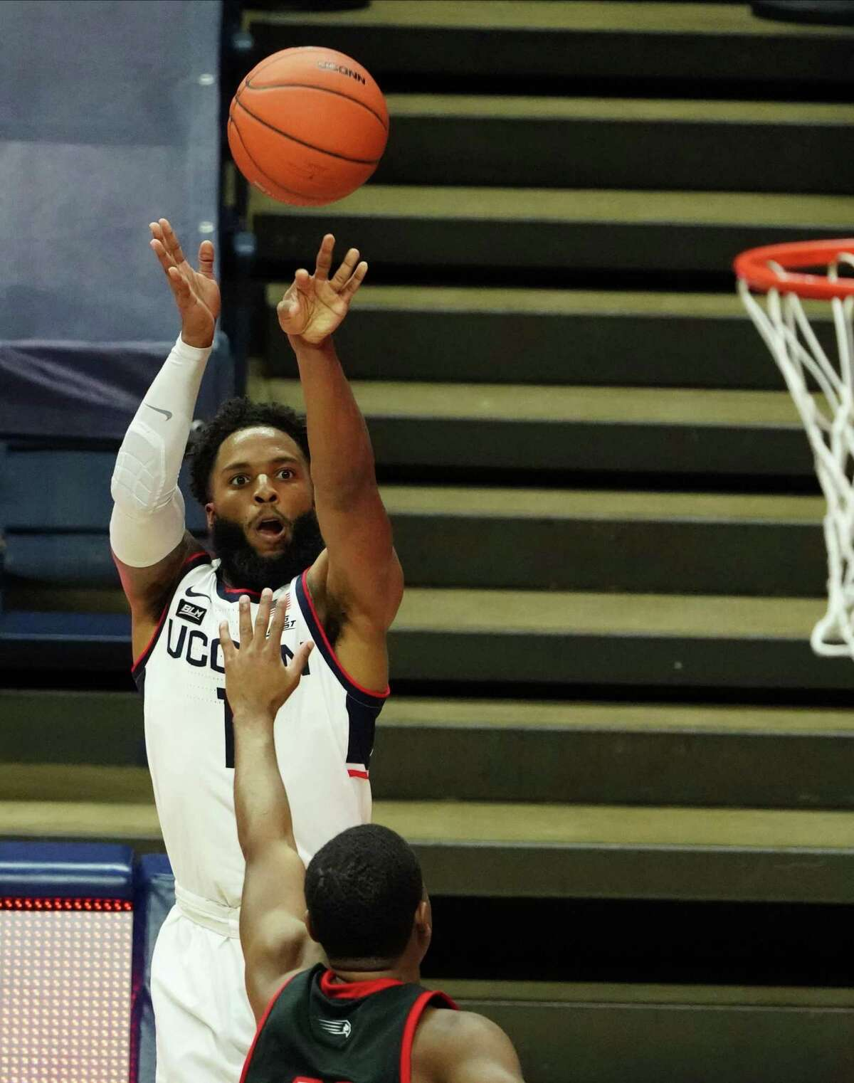 UConn Huskies guard R.J. Cole (1) shoots for three points against the Hartford Hawks in the first half at Harry A. Gampel Pavilion on Friday, Nov. 27, 2020 in Storrs, Connecticut.