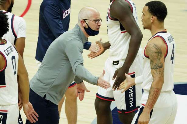 UConn coach Dan Hurley reacts as his players come off the court during the first half of Friday's win over Hartford.
