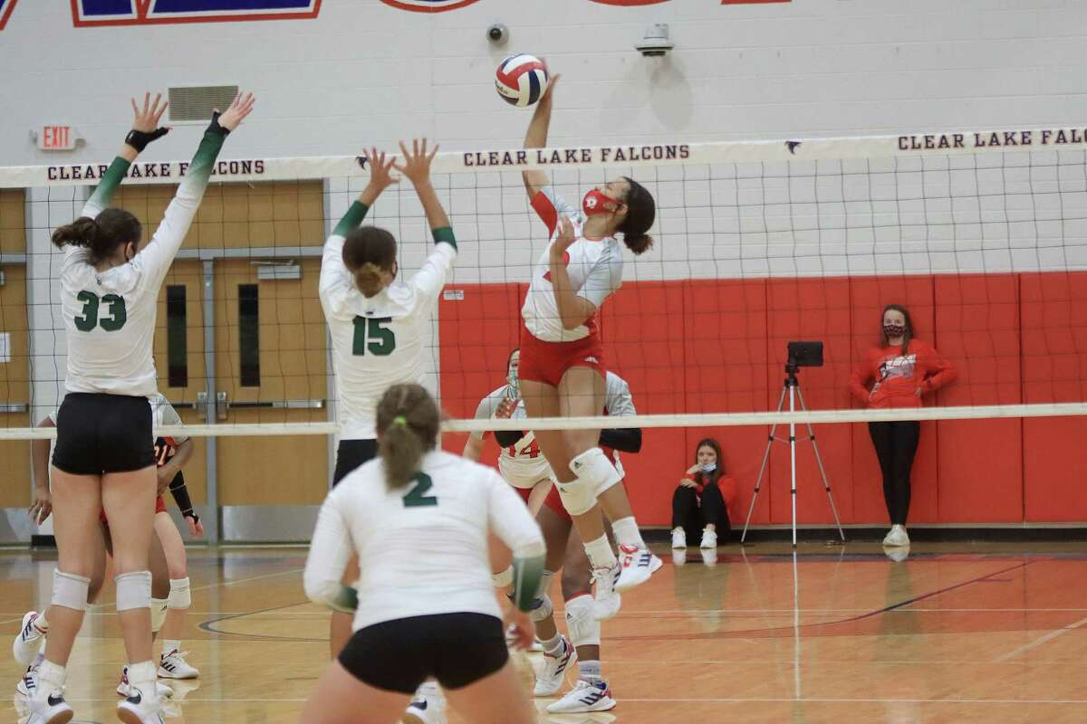 Dawson's Sydney Alexander and teammates, shown in their win over Clear Falls, came up just short in a three-set loss to talented Katy Seven Lakes Monday in a Region III-6A volleyball semifinal at Wheeler Fieldhouse in Sugar Land.