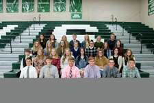 The new Laker NHS inductees are, front row, Tyson Steinman, Connor McCain, Collin Schuette, Mikel Good, Charles Csanyi and Kyle Ignash; second row, Landon Kozfkay, Tori Iseler, Kennedy Henry, Devonee Gnagey, Grace Trost, Emily Rochon, Briana Yoder and Kendal Boyce; third row, Alexa Smithers, Alivia Lubeski, Brianah Alexander, Brooklyn Beachy, Tatum Boyce, Reagan Boyce and Lauren Scaddan; fourth row, Leah Truemner, Emma McArdle, Isabella Herford, Tyler Hill, Madison Helmuth, Savannah Beachy and Hunter Krohn. Not pictured are Abigail Burack, Chandler Hundersmarck and Emily Smith. (Submitted Photo)