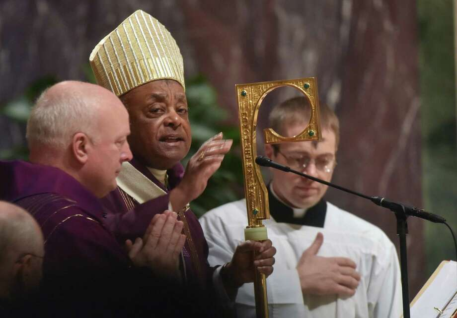 Washington Archbishop Wilton Gregory, center, leads Mass at the Cathedral of Saint Matthew the Apostle on Feb. 26, 2020, at the beginning of Lent. Photo: Washington Post Photo By Marvin Joseph / The Washington Post