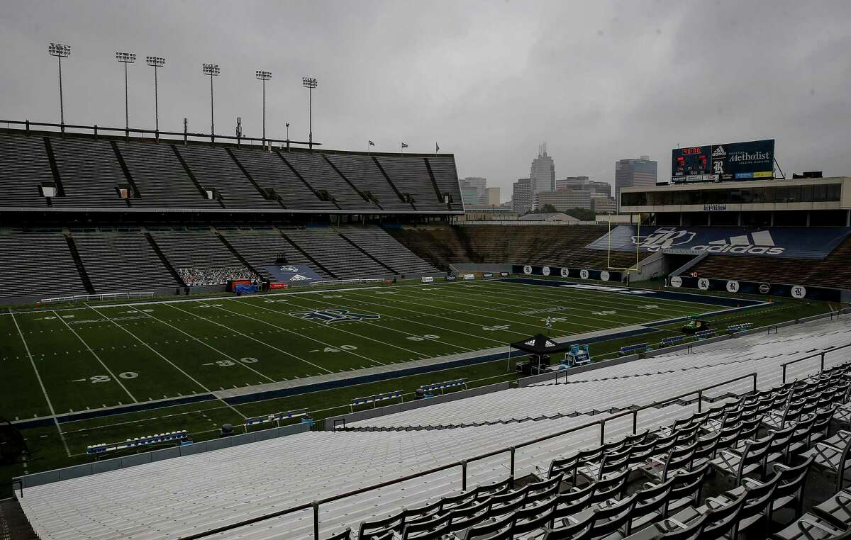 A football game between the Rice Owls and the UTEP Miners scheduled for today has delayed for additional testing. The stadium was photographed before an NCAA football game Saturday, Nov. 28, 2020, at Rice Stadium in Houston.