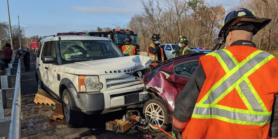 A person trapped under a vehicle led to the closure of northbound I-95 in Westport on Saturday, Nov. 28, 2020, officials said. Westport Assistant Fire Chief Matthew Cohen said a person trapped was under a vehicle following a 9 a.m. two-vehicle accident. Photo: Westport Fire Department Photo