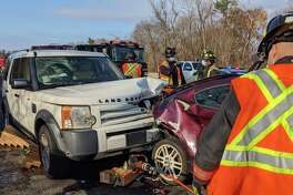 A person trapped under a vehicle led to the closure of northbound I-95 in Westport on Saturday, Nov. 28, 2020, officials said. Westport Assistant Fire Chief Matthew Cohen said a person trapped was under a vehicle following a 9 a.m. two-vehicle accident.
