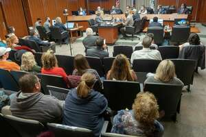 Protestors fill the seats in Midland City Hall 11/23/2020 morning at the city council meeting where council members discussed and voted on new mask mandates. Tim Fischer/Reporter-Telegram