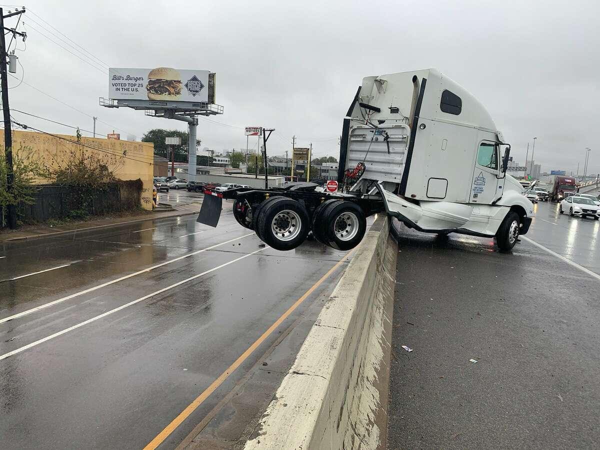 A truck crash snarls the highway.