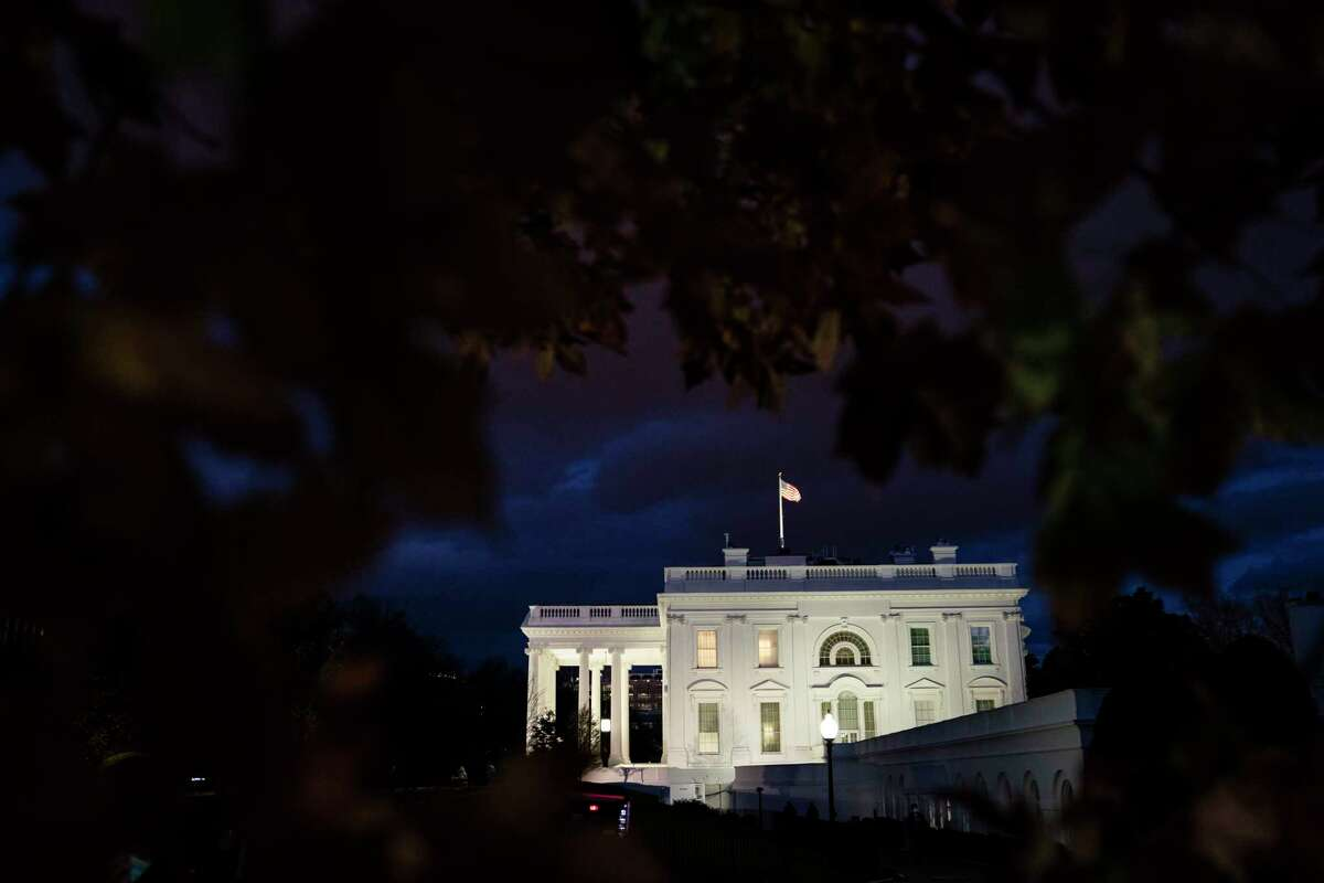 The sun sets on the White House on Tuesday Nov. 17, 2020, in Washington, D.C.