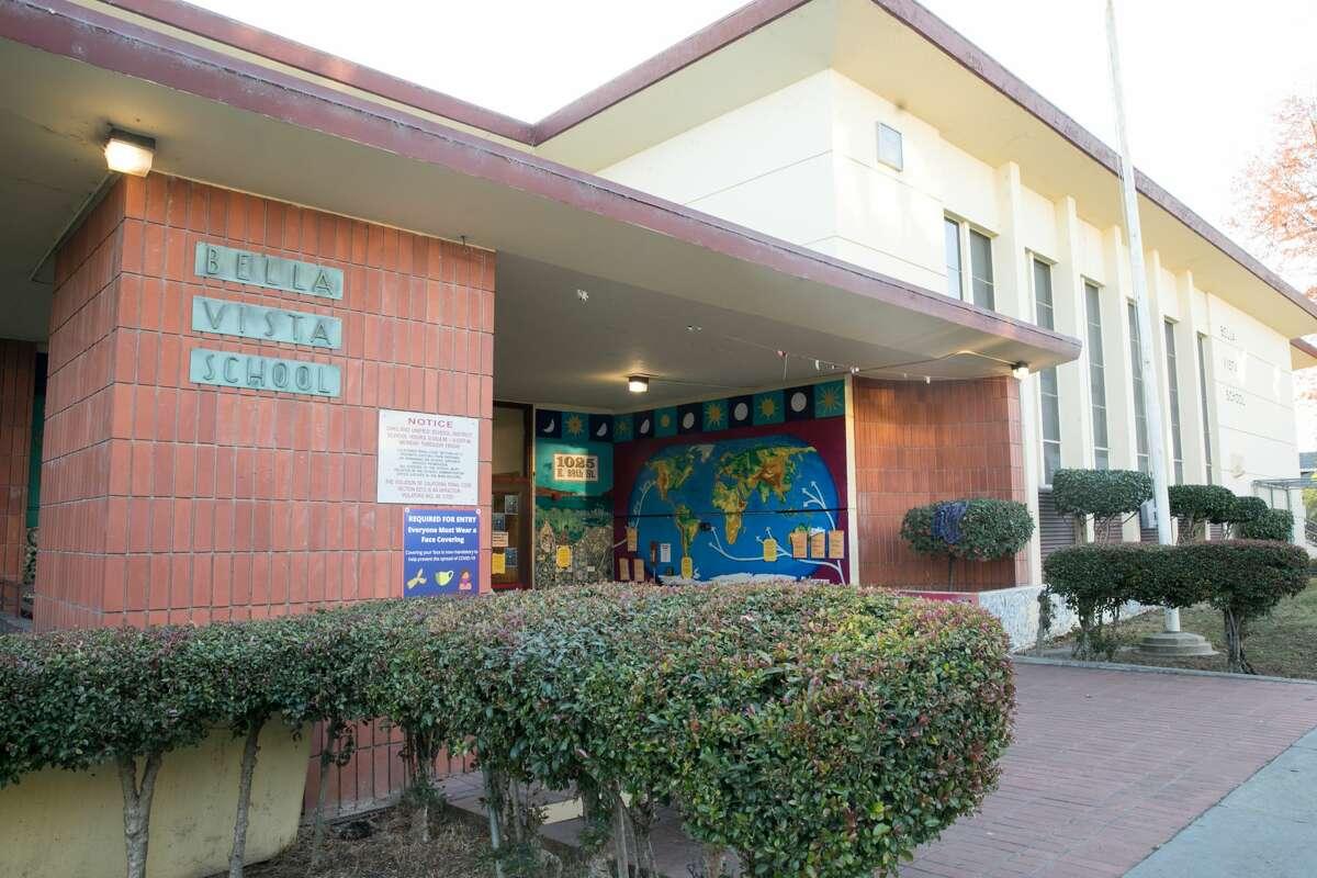 The exterior of Bella Vista Elementary School, an Oakland Public school in Oakland, California.