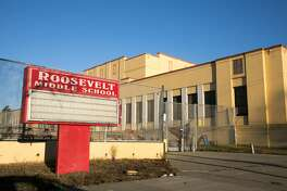 The exterior of Roosevelt Middle School, an Oakland Public school in Oakland, California.