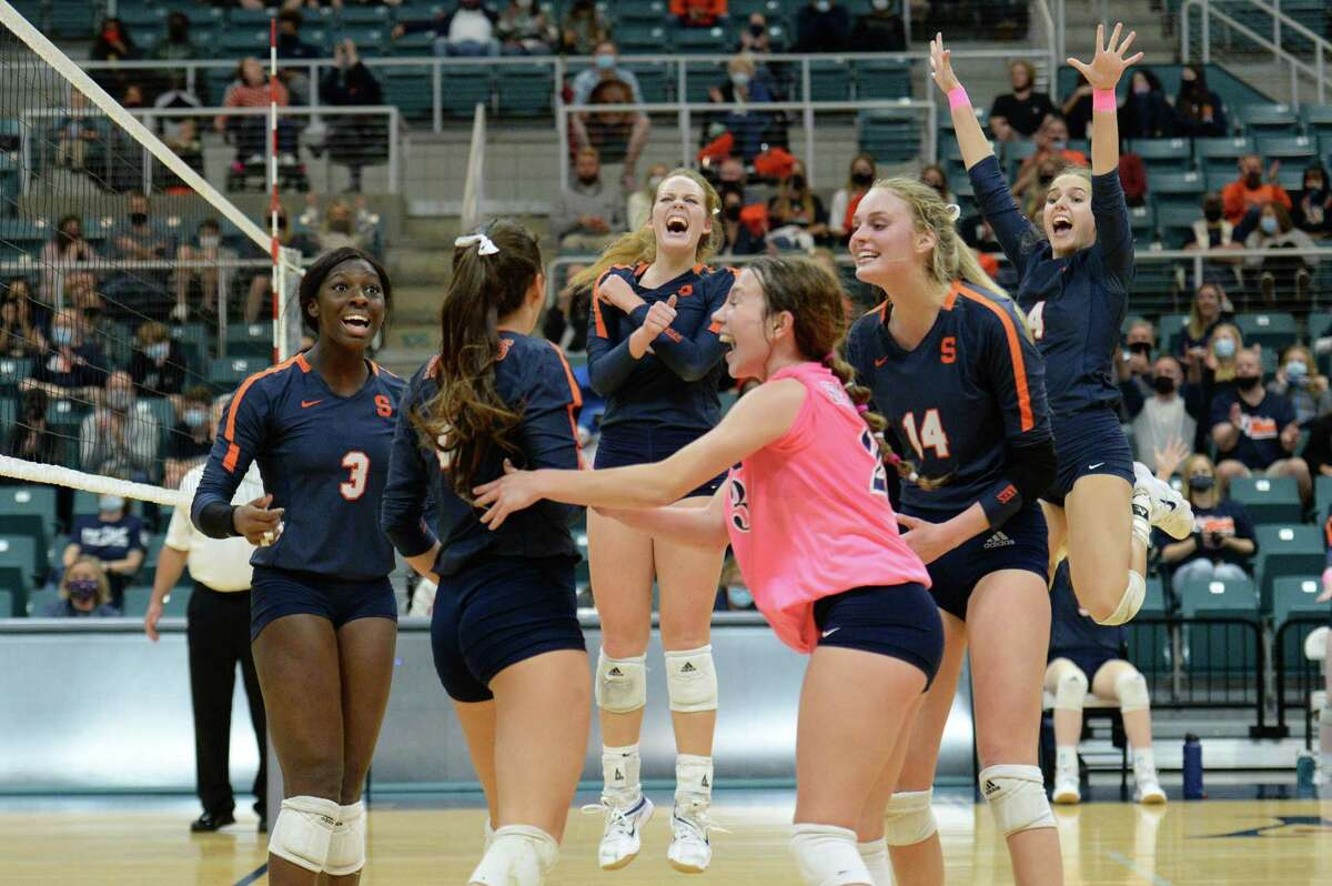 The Seven Lakes Spartans celebrate their 3-1 victory over the Cinco Ranch Cougars in a 6A-III regional quarterfinal game on Saturday, November 28, 2020 at Leonard Merrell Center, Katy, TX.