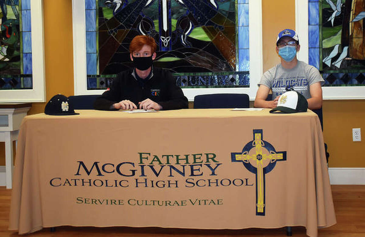 Father McGivney seniors Drew Sowerwine, left, and Christian Logue will play college baseball for Culver-Stockton in Canton, Missouri.