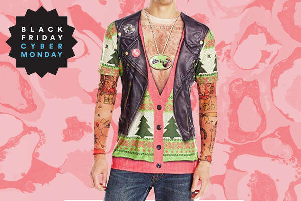 3D Photo-Realistic Ugly Christmas Tattoo Sweater Long Sleeve T-Shirt for $17.49 at Amazon