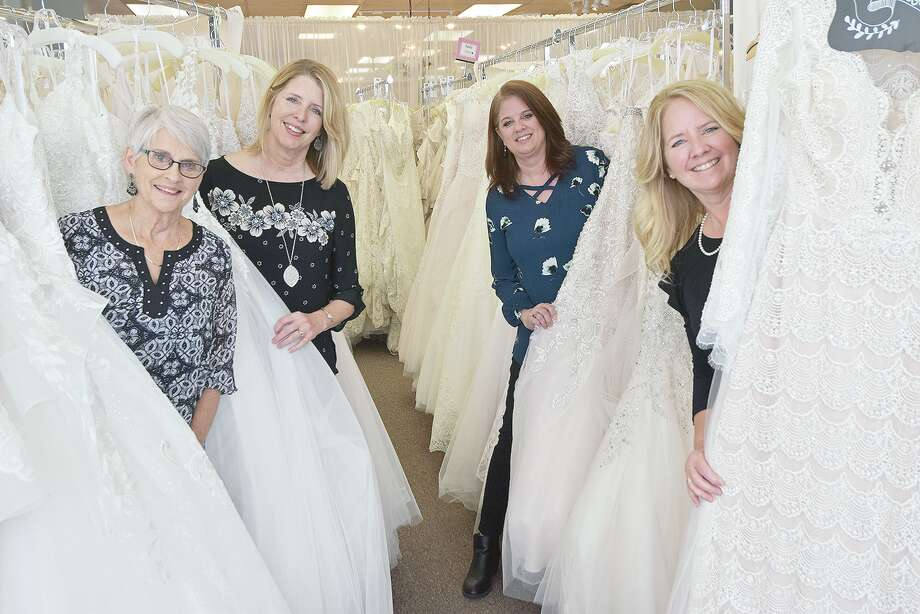 The women of Girls in White Satin: Mother and seamstress Phyllis Henson (from left) and sisters Becky Baumgart, Joann Taylor and Terryl Boulanger. Photo: David Blanchette | Journal-Courier