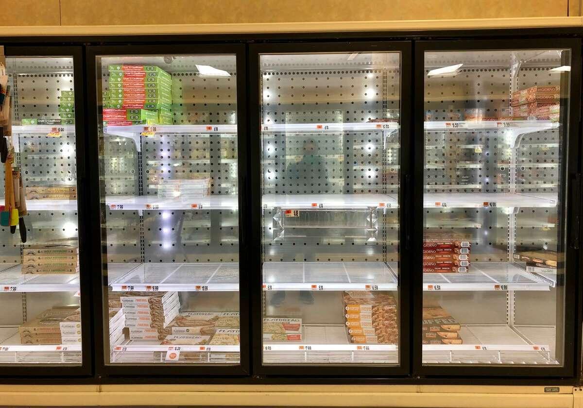 Empty food shelves at a Connecticut Stop & Shop.
