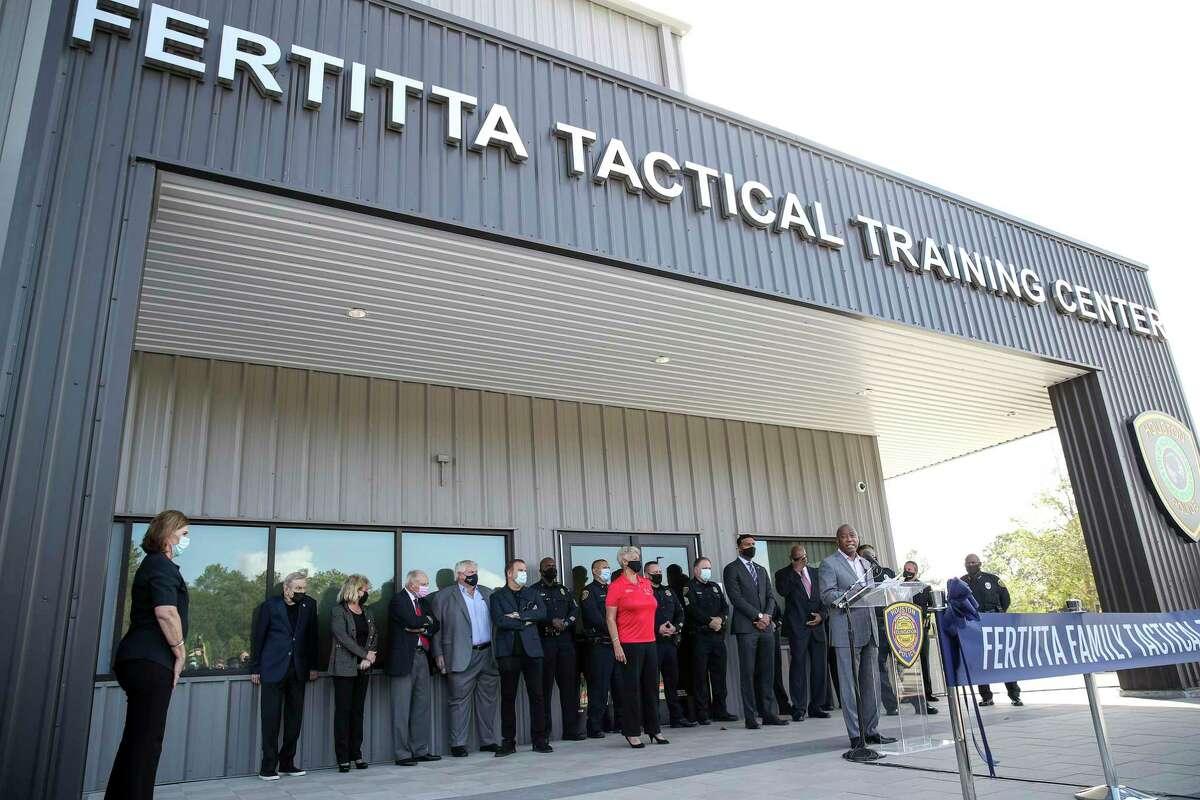 Houston Mayor Sylvester Turner speaks during a ceremony to unveil a new HPD training center Thursday, Nov. 19, 2020, at the Tilman Fertitta Family Tactical Training Center in Houston.