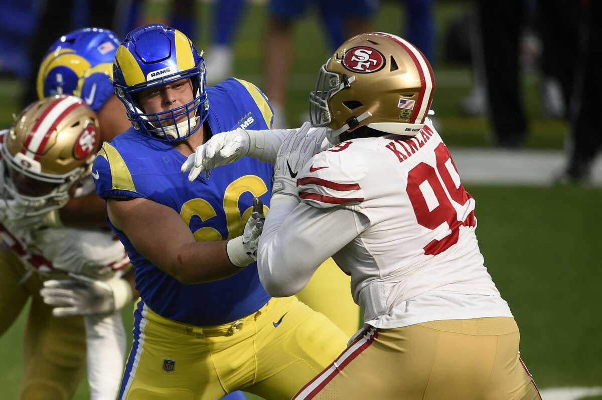 Los Angeles Rams center Austin Blythe (66) blocks against the San Francisco 49ers' Javon Kinlaw during the first half of an NFL football game Sunday, Nov. 29, 2020, in Inglewood, Calif. (AP Photo/Kelvin Kuo)