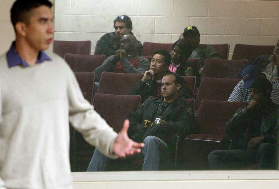 "Retired Marine Sgt. Marty Gonzalez speaks during a training session for Houston Police Officers on PTSD or ""Post Traumatic Stress Disorder"" at the Houston Police Academy on Dec. 7, 2010, in Houston. Gonzalez died Saturday. Photo: James Nielsen, Staff / Houston Chronicle / Houston Chronicle"