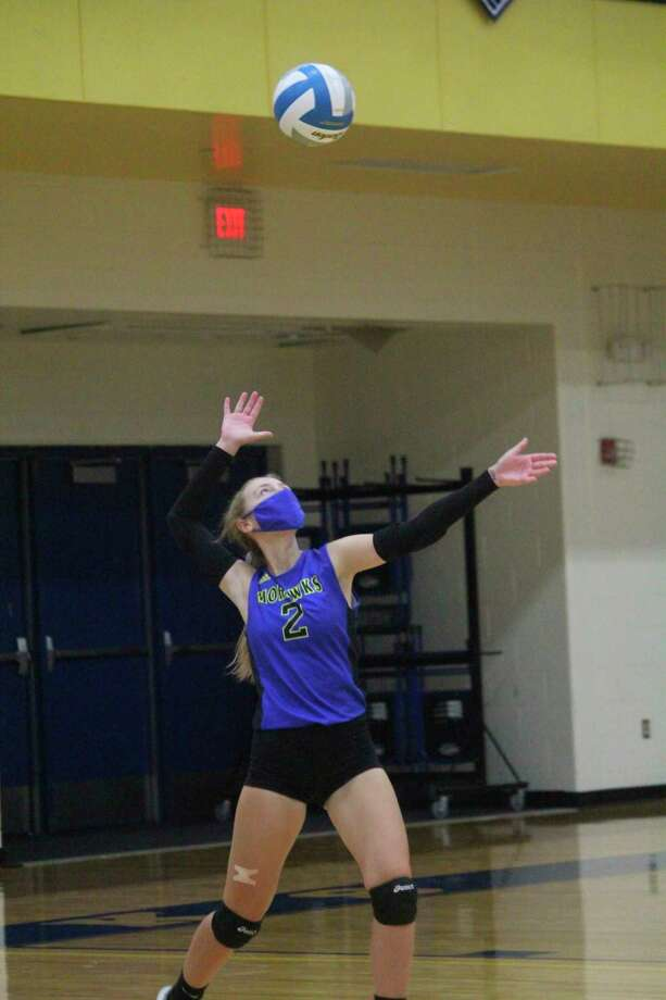 Morley Stanwood's Emilee Cornell gets ready to serve during the recently completed season. (Pioneer photo/John Raffel)