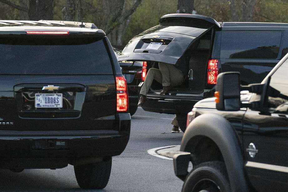 A motorcade with President-elect Joe Biden aboard arrives at Delaware Orthopaedic Specialists to see a doctor, Sunday, Nov. 29, 2020, in Newark, Del. Biden slipped while playing with his dog Major, and twisted his ankle. (AP Photo/Carolyn Kaster) Photo: Carolyn Kaster, Associated Press