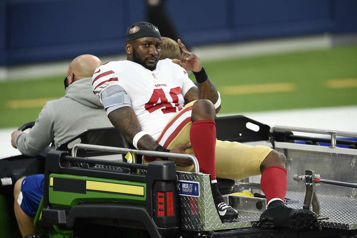 San Francisco 49ers cornerback Ken Webster is carted off the field with an injury during the second half of an NFL football game against the Los Angeles Rams Sunday, Nov. 29, 2020, in Inglewood, Calif. (AP Photo/Kelvin Kuo )
