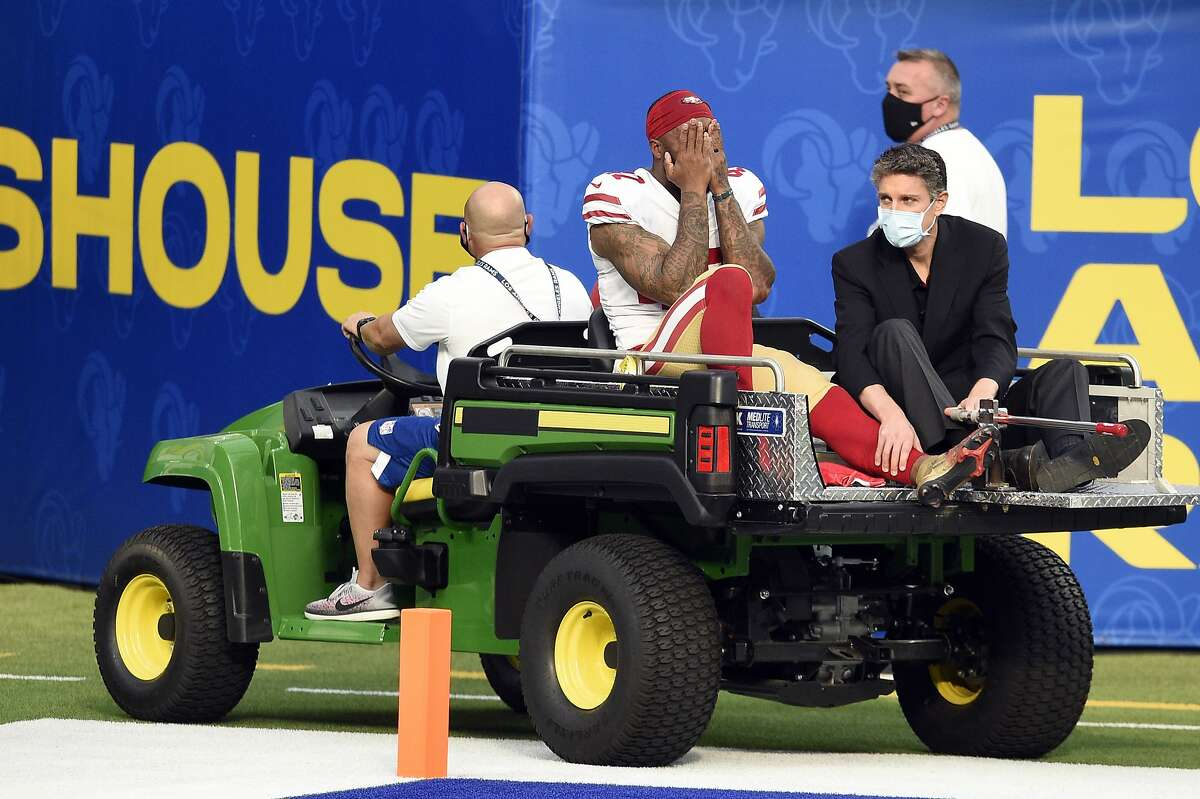 San Francisco 49ers cornerback Jamar Taylor is carted off the field during the first half of an NFL football game against the Los Angeles Rams Sunday, Nov. 29, 2020, in Inglewood, Calif. (AP Photo/Kelvin Kuo)