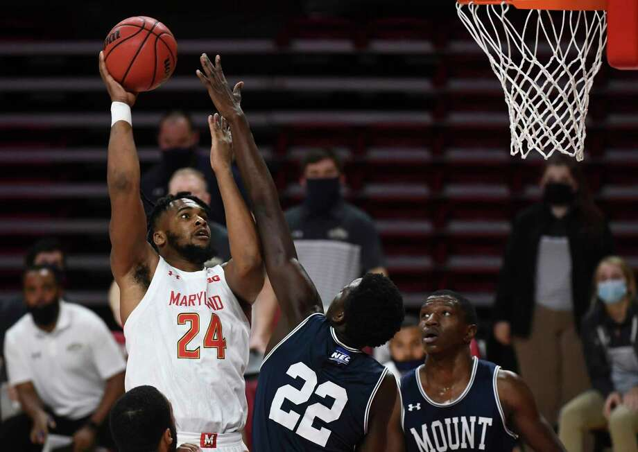 Maryland Terrapins forward Donta Scott gets up for two against the Mount St. Mary's Mountaineers at the Xfinity Center in College Park, Md., on Sunday, Nov. 29, 2020. Photo: Washington Post Photo By Toni L. Sandys / The Washington Post