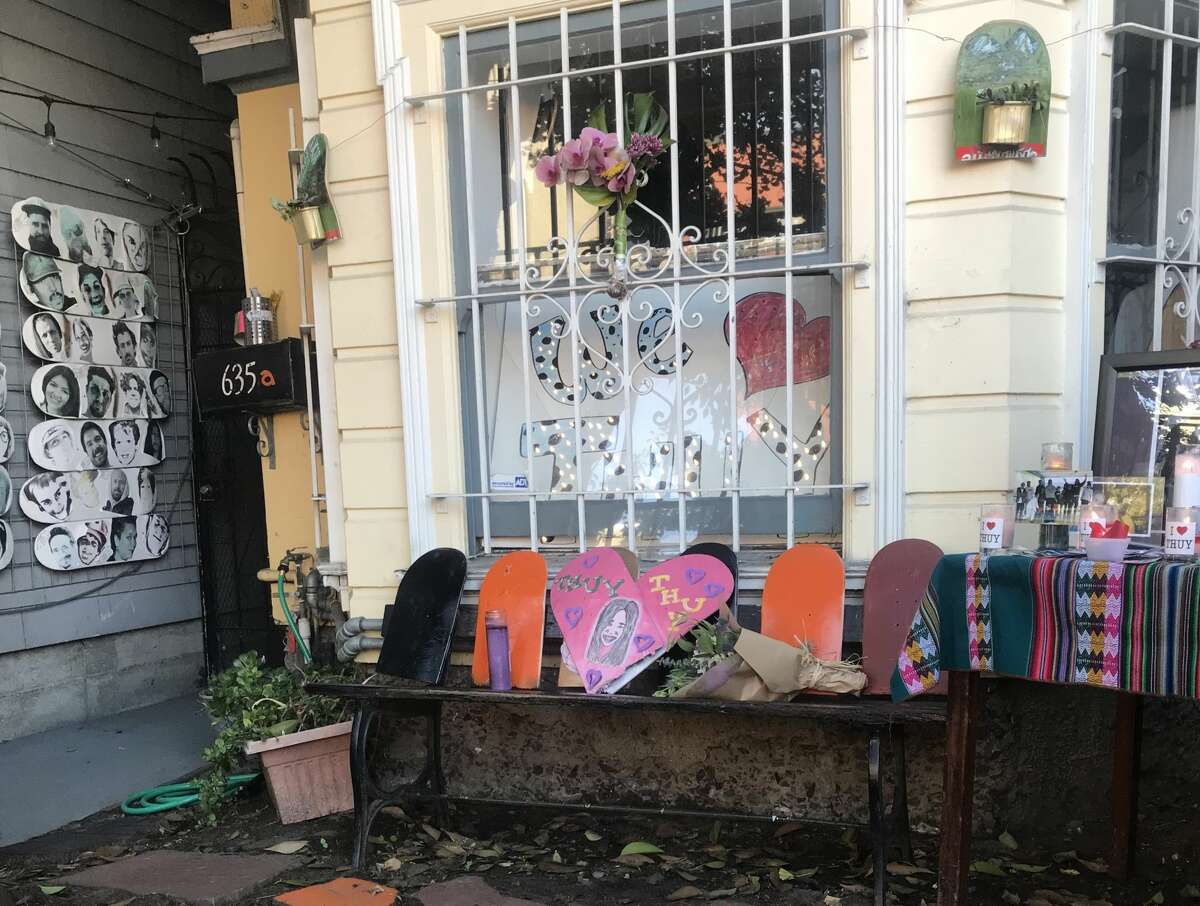 A memorial in front of SF Skate Club.