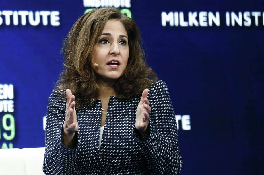 Neera Tanden, president and chief executive officer of the Center for American Progress, speaks at a conference in 2019. Photo: Bloomberg Photo By Patrick T. Fallon / © 2019 Bloomberg Finance LP