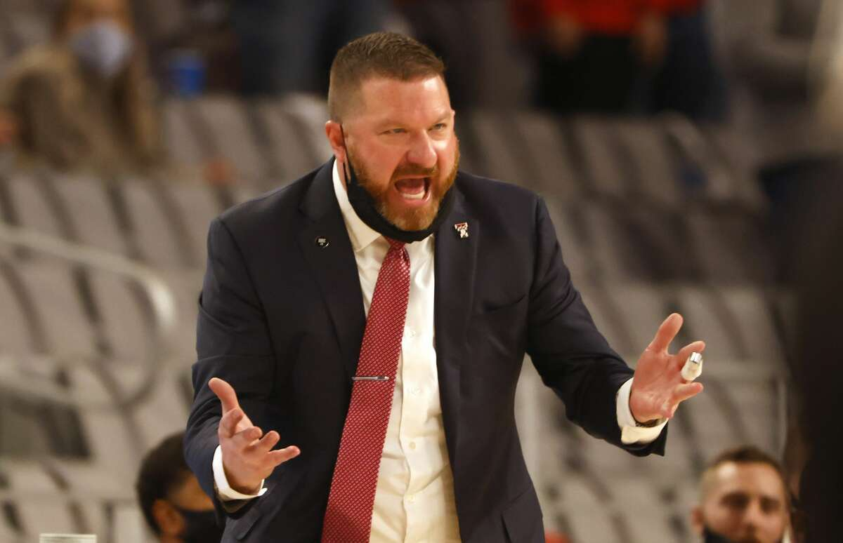 Texas Tech head coach Chris Beard reacts as Tech plays against Houston during the second half of an NCAA college basketball game, Sunday, Nov. 29, 2020, in Fort Worth, Texas. (AP Photo/Ron Jenkins)