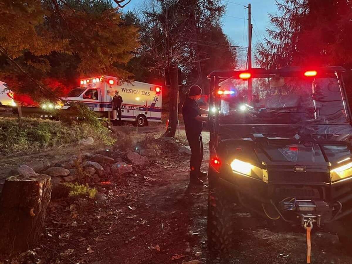 Units on scene for a rescue of an injured bicyclist in Easton, Conn., on Sunday, Nov. 29, 2020.