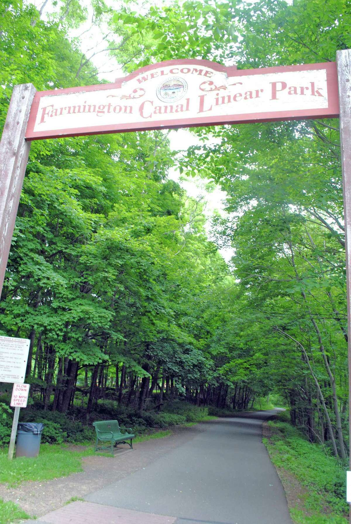 Part of the Farmington Canal LinearTrail that runs through Hamden and Cheshire. The trail, closely following Route 10, was built on the former railbed of the New Haven and Northampton Company and later New York, New Haven and Hartford Railroad. Of course, before the railroad, it was the path along the the Farmington Canal in Connecticut and the Hampshire and Hampden Canal in Massachusetts. In Cheshire, you'll notice Lock 12 park, giving insight into how boats of cargo were transported in the 1800s during the canal's relatively short life.