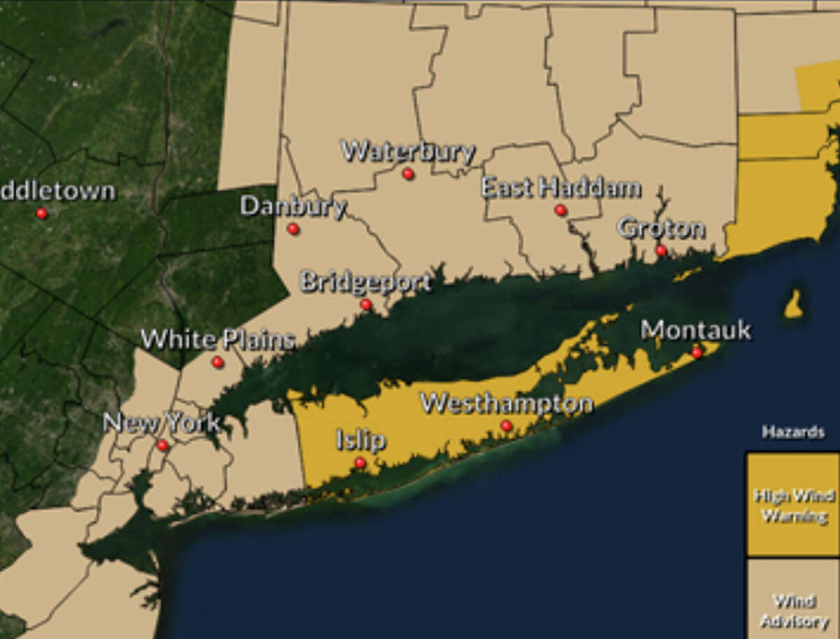 A look at the area of Connecticut under the wind advisory.