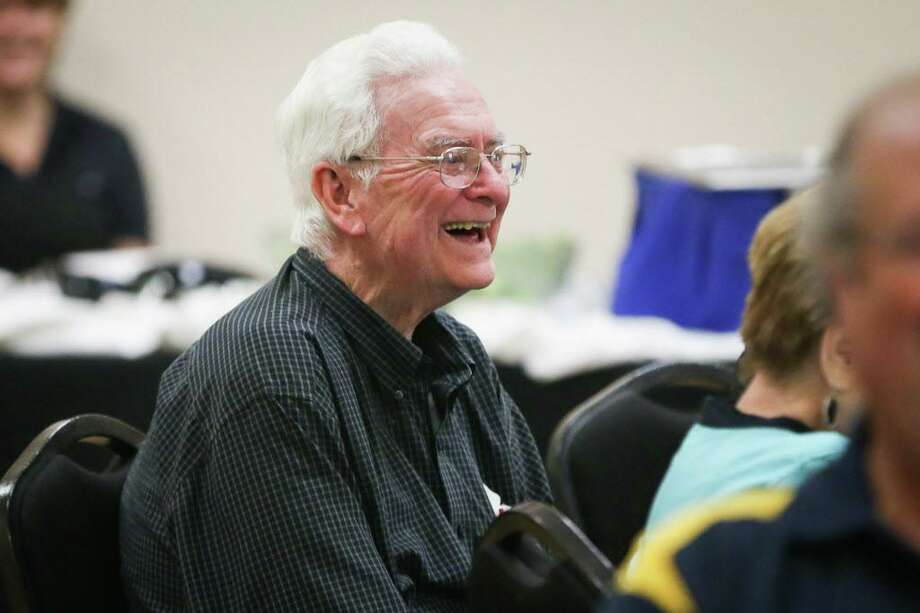 Conroe Rotarian Bert Lynch, past president 1973-1974, laughs during the 85th anniversary of The Rotary Club of Conroe in August 2017. Lynch died on Thanksgiving Day in Conroe. Services are Wednesday morning. Photo: Michael Minasi, Staff Photographer / Houston Chronicle / Internal