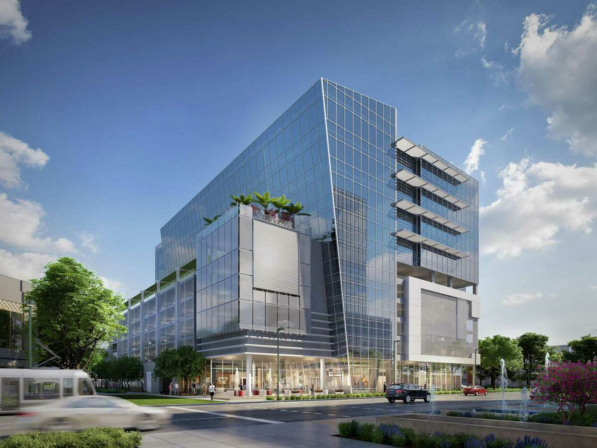 An artist rendering of the northwest view of the Museo medical office building that is under construction at 5115 Fannin by Dr. Mike Mann of the Mann Eye Institute.