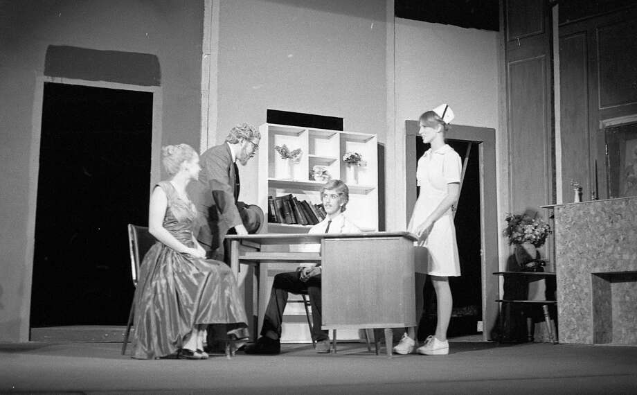 "Students of the Manistee High School Thespians were rehearsing their presentation of ""Harvey"" on the Ramsdell Theatre stage 40 years ago.(Manistee County Historical Museum photo)"