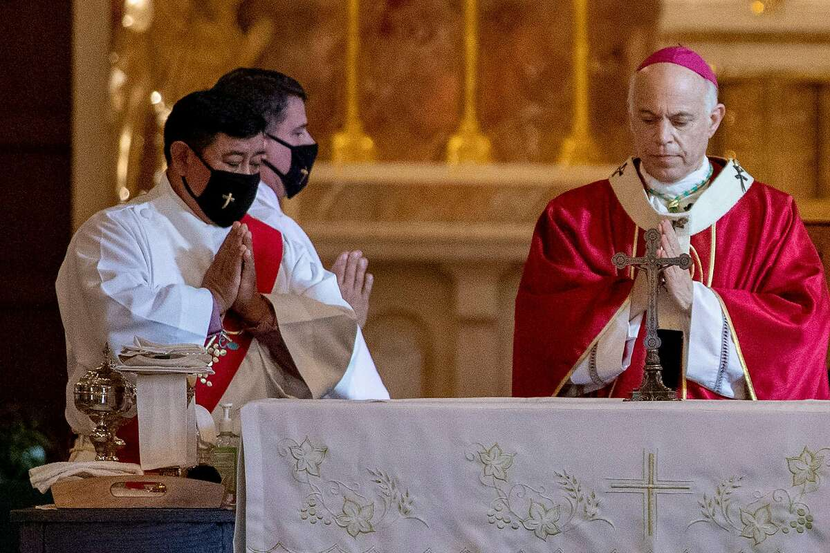 San Francisco Archbishop Salvatore Cordileone, seen in San Rafael in October, has said he is considering a legal challenge to pandemic-related worship restrictions.