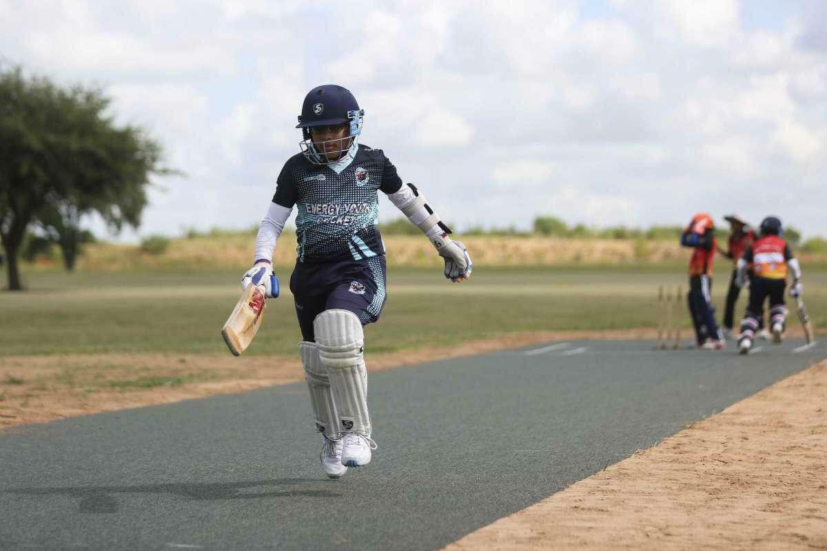 Adi Tirlotkar runs after hitting the ball at a new cricket pitch in Richmond last year. Planned additions to the Sports Complex at Shadow Creek Ranch will include two sports fields that can be used for cricket and rugby in addition to a multipurpose
