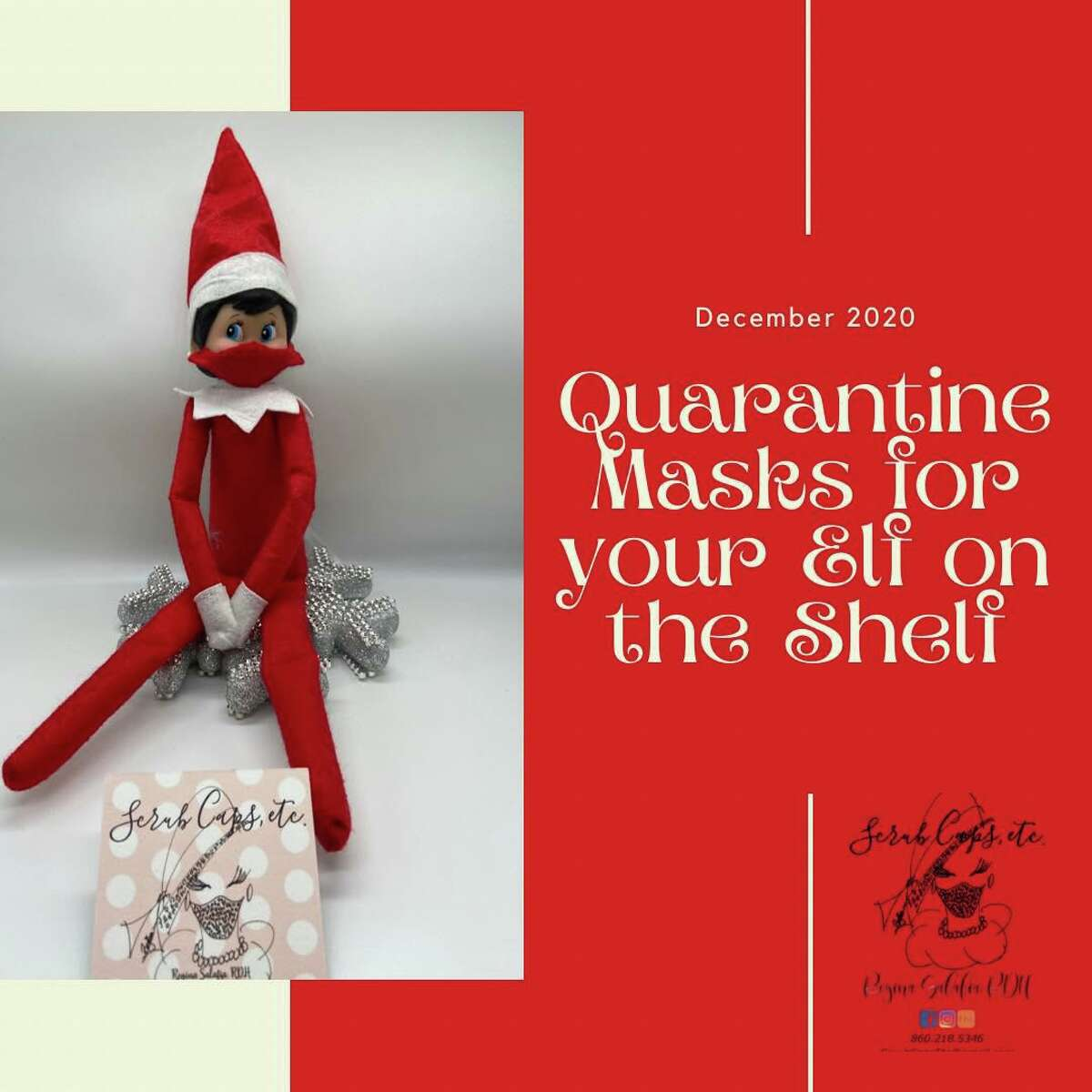 Regina Salafia of Middletown rediscovered her love for sewing in April, when the pandemic forced big changes in everyone's lives. That's when she came up with the idea of quarantine masks placed on The Elf on the Shelf dolls when they first arrive from Santa's workshop.