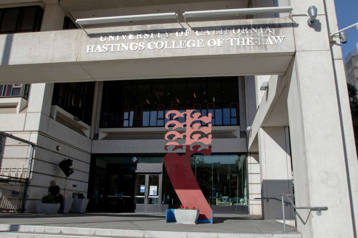 The exterior of University of California Hastings College of the Law's Mary Kane Kay Hall on Nov. 30, 2020. The law school, part of the UC system, was founded by Serranus Clinton Hastings, a judge and real estate tycoon, in 1878.