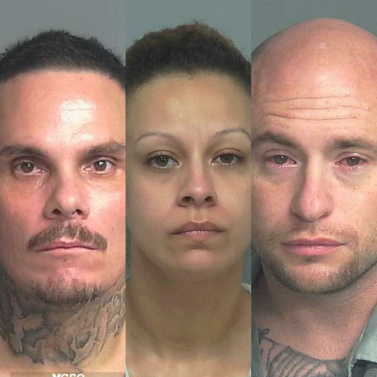 From left, Michael James Brooks, 43, of Cleveland, Lissette Elvira Guevara, 34, of Houston, and Christopher Jay Johnson, 32, of Conroe, are being charged with manufacture and delivery of a controlled substance.