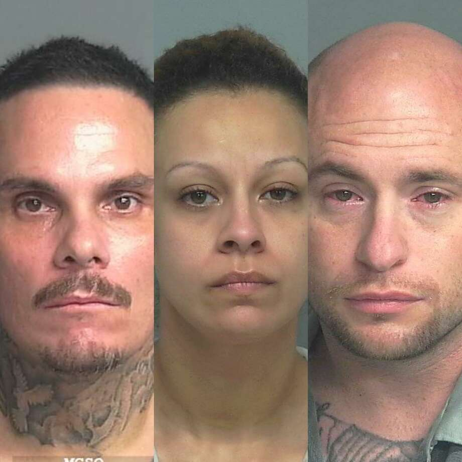 From left, Michael James Brooks, 43, of Cleveland, Lissette Elvira Guevara, 34, of Houston, and Christopher Jay Johnson, 32, of Conroe, are being charged with manufacture and delivery of a controlled substance. Photo: Courtesy Of The Montgomery County Sheriff's Office