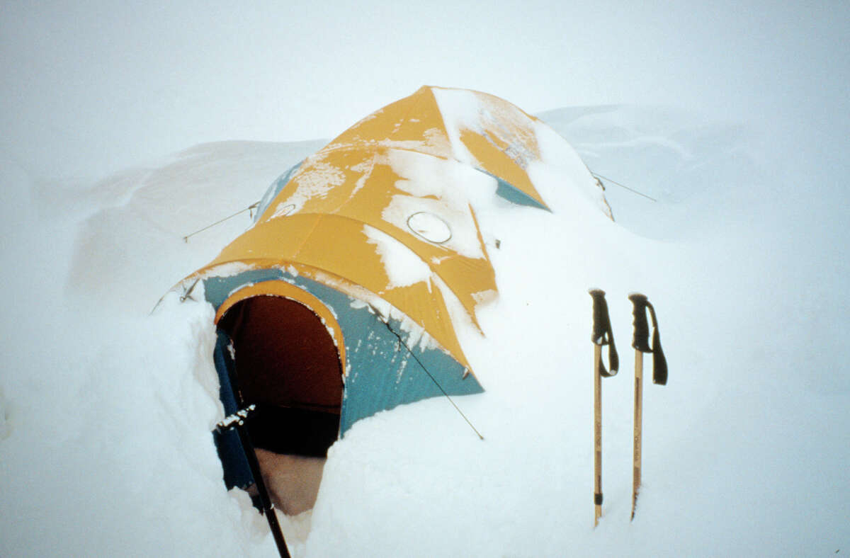 A storm in Alaska forced Dave Nettle to shelter in place in this small tent for days. This photo was part of Nettle's slideshow in the Winter Speaker Series.