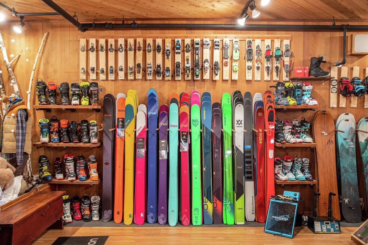 The ski rack inside Alpenglow Sports.