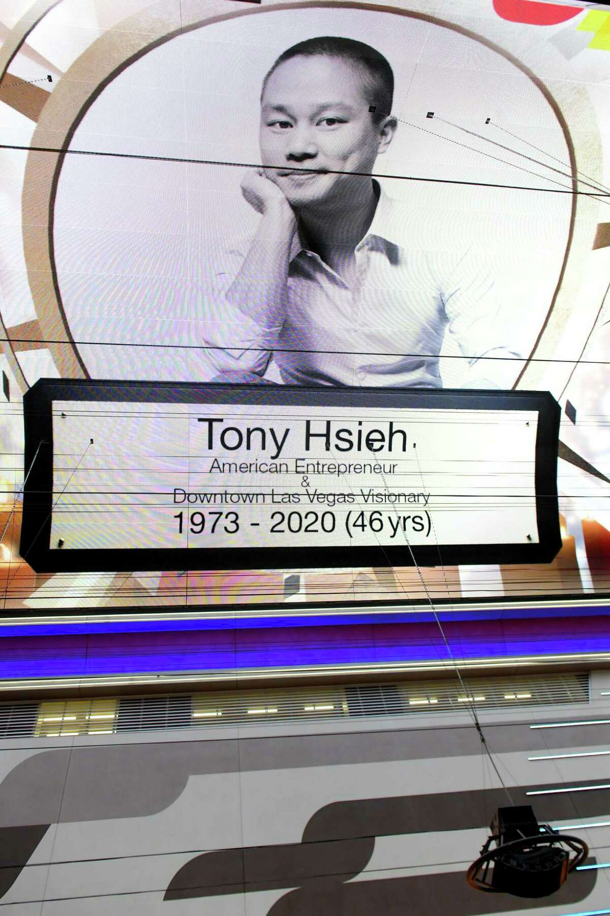 LAS VEGAS, NEVADA - NOVEMBER 28: A tribute to tech entrepreneur Tony Hsieh is displayed on the Fremont Street Experience attraction's Viva Vision screen on November 28, 2020 in Las Vegas, Nevada. Hsieh, the former CEO of Zappos.com, known for his role in the revitalization of downtown Las Vegas, died on November 27, 2020, at age 46.