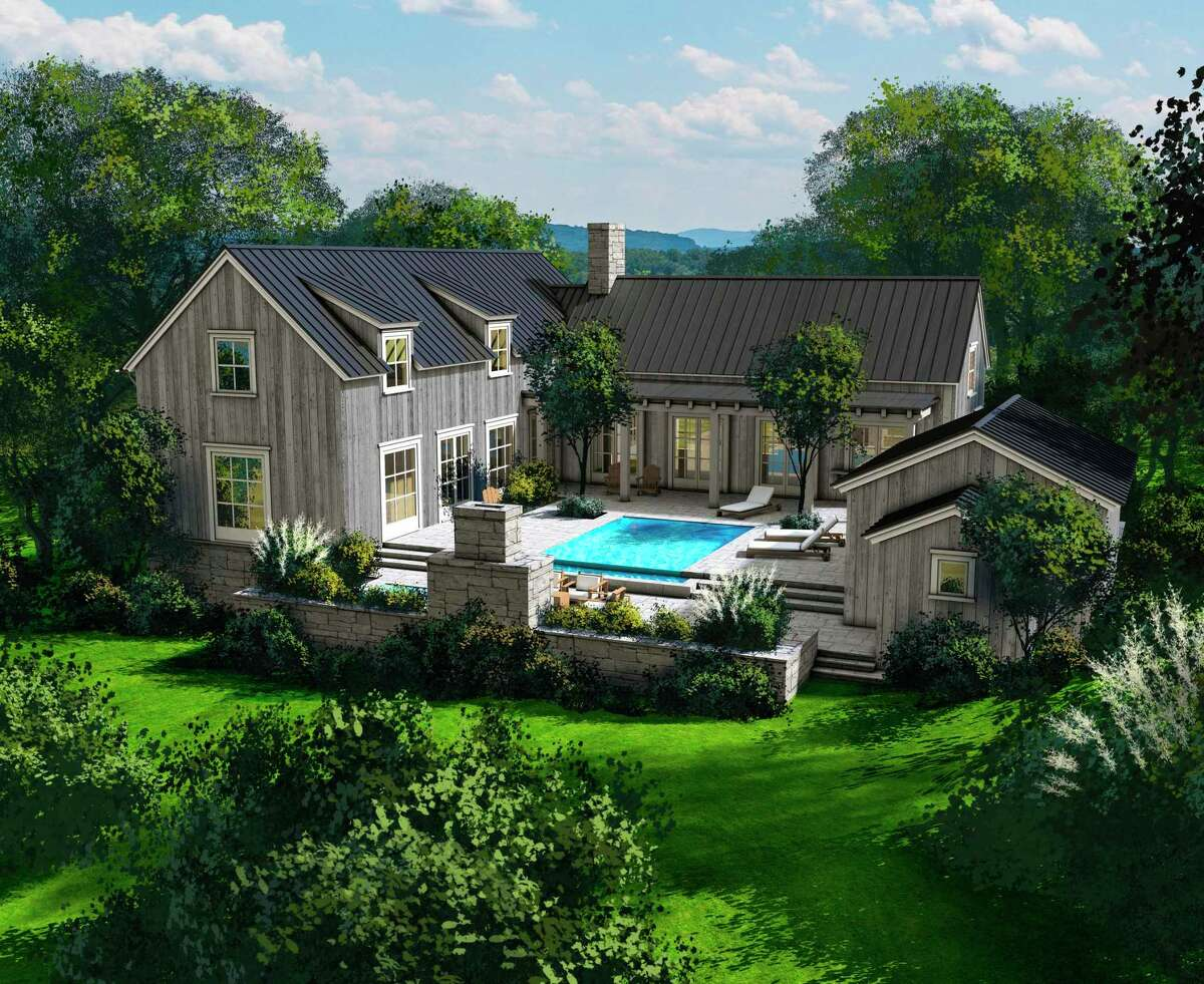 This rendering of the Vineyards style home at the Salamander Resort & Spa in Washington, D.C., showcases dormer windows and a pool patio.