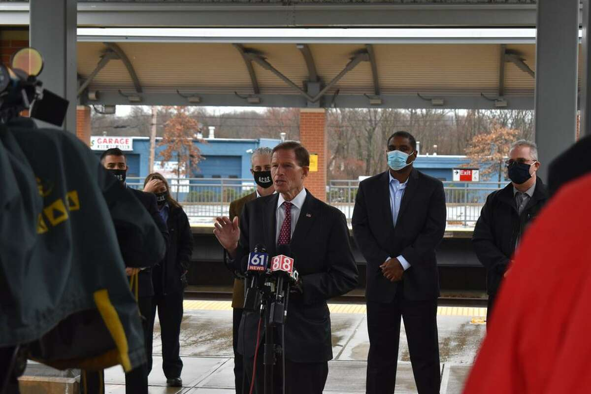U.S. Sen. Richard Blumenthal and officials with the Metropolitan Transportation Authority urged the federal government to provide coronavirus-related relief Monday with a press conference at the West Haven train station.