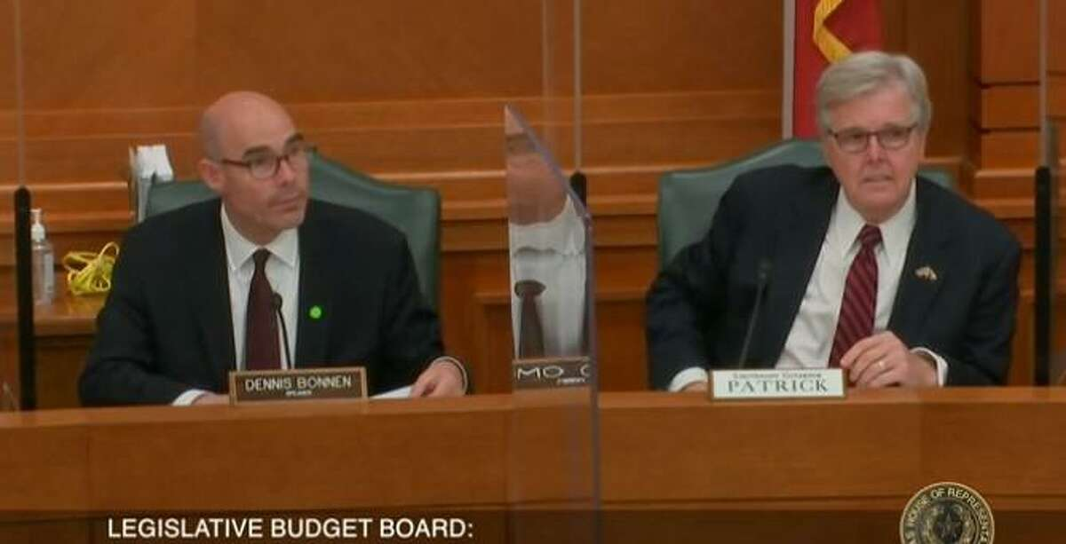 Texas House Speaker Dennis Bonnen and Lt. Gov. Dan Patrick appear at a Nov. 30 meeting of the Legislative Budget Board. The board discussed an anticipated $4.6-billion shortfall in revenues caused by a slowdown in the Texas oil and gas industry and by the coronavirus pandemic.