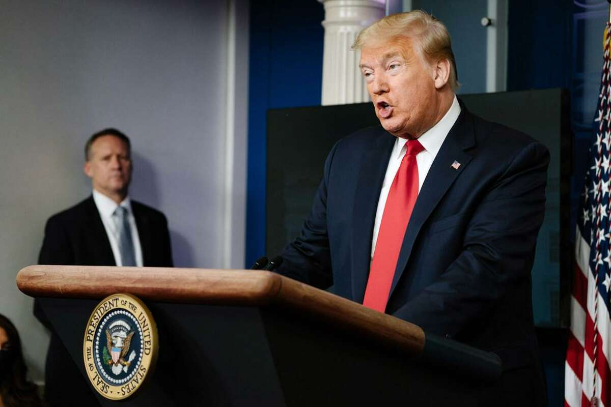 President Donald Trump speaks to reporters at the White House on May 22, 2020. Trump has pushed a conspiracy theory about the death of Lori Klausutis, who worked for Joe Scarborough, leading her husband to write to Twitter's CEO asking that the false tweets be removed.