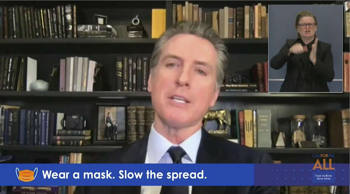 California Gov. Gavin Newsom during a virtual briefing from his home in Sacramento on Monday. The state asked the U.S. Supreme Court on Monday to allow it to preserve its restrictions on indoor religious gatherings during the pandemic.